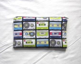Mix Tape Zipper Pouch / Pencil Case / Make Up Bag / Gadget Sack
