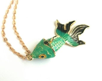 Green and Gold Koi Fish Necklace. Articulated Pendant on Gold Plated Chain by Paperface Studio