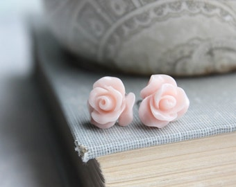 Blush Pink Rose Stud Earrings Flower Earrings Little Rose Earrings Surgical Steel Posts Nickel Free Stocking Stuffers Bridesmaids Gift