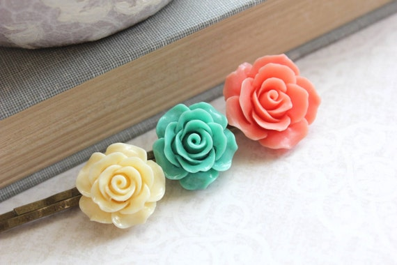 Flower Bobby Pins Coral Rose Hair Accessories Teal Turquoise Rose Bobbies Floral Hair Pins Hippie Chic Boho Gift for Girls Under 20