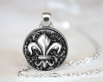Fleur de Lis Necklace Glass Tile Necklace Fleur de Lis Jewelry Glass Tile Jewelry Black Jewelry Silver Necklace Silver Jewelry