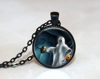 Halloween Necklace Glass Tile Necklace Ghost Jewelry Black Necklace Glass Tile Jewelry Halloween Jewelry Holiday Jewelry Black Jewelry