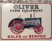 Vintage Oliver Farm Equipment Tin Sign Green Tractor