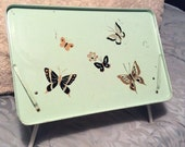 "PRE SPRING SALE 1960s Vintage 20"" Mint Green Butterfly Metal Folding Lap Tray 3 positions Can Tilt"