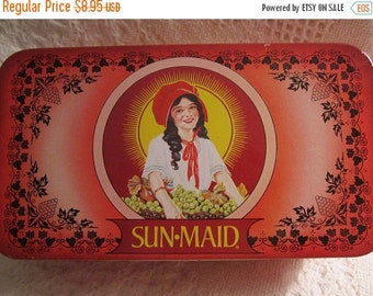 20% OFF SALE Vintage SUN Maid Raisin Tin Container Red Americana Advertising Red