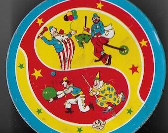 Vintage Mid Century Children's Tin Circus Themed Noise Maker