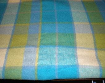 Vintage Mid Century Large Wool Plaid Blanket