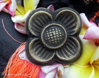 Balinese Flower Brass Drawer Pull or Door Knob 45mm