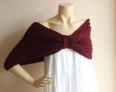 Burgundy Bridal Capelet / Wedding Wrap Shrug Bolero/Hand Knit Acrylic scarf with pin-vegan scarf-Everyday Cape