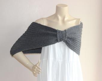 Charcoal Gray  Bridal Capelet / Wedding Wrap Shrug Bolero/Hand Knit Acrylic scarf with pin-vegan scarf-Everyday Cape