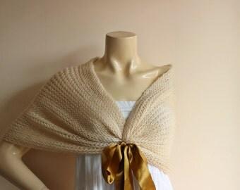 Beige Bridal Capelet / Wedding Wrap Shrug Bolero/Hand Knit Mohair Shawl with Old Gold Ribbon