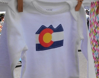 colorado flag baby onesie, baby bodysuit, size 6 month or 12 month, long sleeve
