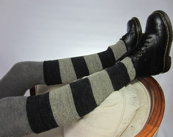 Striped Boot Socks Cuffs Knee High Leg Warmers Charcoal Gray Tan Cotton Grey Stripe A1331