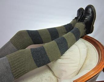 Striped Leg Warmers Boot Socks Thigh Highs Over the knee Leg warmers Boot Sock Brown Gray Stripe A1560