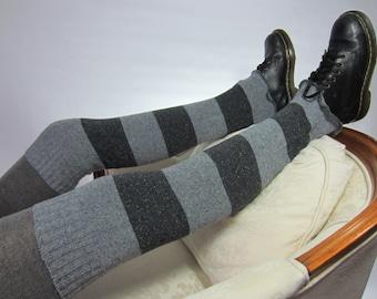 Women's Leg Warmers Striped Boot Socks Thigh Highs Over the knee Leg warmers Boot Sock Charcoal Gray Stripe