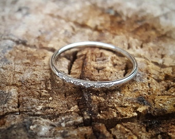 White Gold Wedding Band Women White Gold Wedding Bands Women Diamond Wedding Band Ring Wedding Ring 14K White Gold Ring Thin Diamond Band