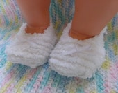 Chenille Baby Booties with ribbon bows - 3 to 6 months
