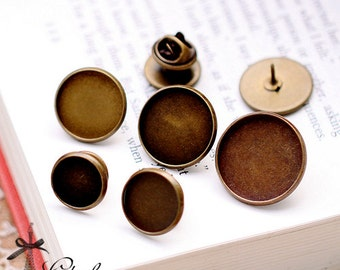 10Sets 12mm 14mm 16mm 18mm 20mm Tie Tacks Blank Pins with Clutch Back Cabochon Setting Base Brooch-(Safety Pin-1-5)