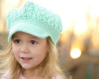 Mint Green Crochet Newsboy Beanie Hat for Girls, Toddler Hat for Girls, Toddler Girls Hats, Crochet Hat for Toddler Girls, Hat
