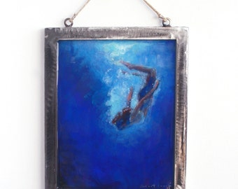 Small Framed Original Painting Steel Frame / Original Painting on Glass with Epoxy layering 8 x 10