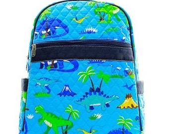 Personalized Boys Quilted  Backpack   DINOSAUR Backpack  Boys Bookbag  Preschool backpack