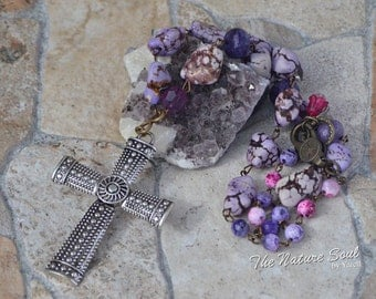 Purple beads with Tibetan Cross necklace