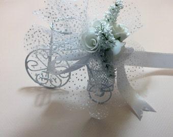 wedding accessory 10xSET White Bicycle Wedding Favor Bike  white roses customized design