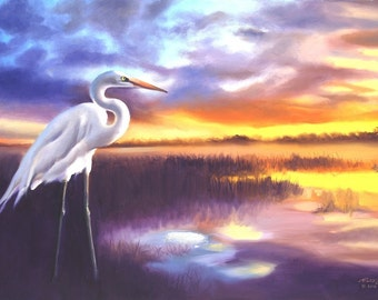 Great White Egret painting by RUSTY RUST 24x36 oils on canvas / E-190