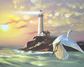 Lighthouse, Egret 11 x 17 print (image 10.75 x 16) personally signed by artist RUSTY RUST / E-175-P