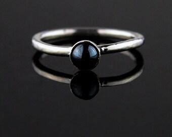 Fine Silver Burnt Garnet Ring