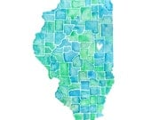 5x7, 8x10 or 8.5x11 - Counties of Illinois Print