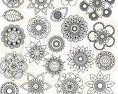 Doodle Flowers Silhouettes Clipart Clip Art 2, Doodle Flowers Clipart Clip Art Vectors - Commercial and Personal