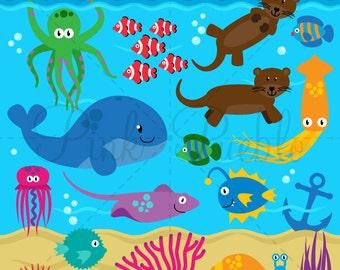 Sea Animals 2 Clipart Clip Art, Sea Creatures Clipart Clip Art and Vectors - Pesonal and Commercial Use