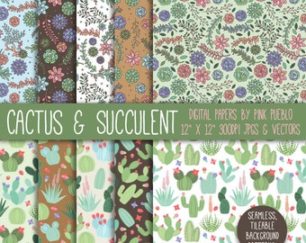 Cactus and Succulent Digital Paper Scrapbook Paper, Succulent and Cactus Background Patterns - Commercial and Personal Use