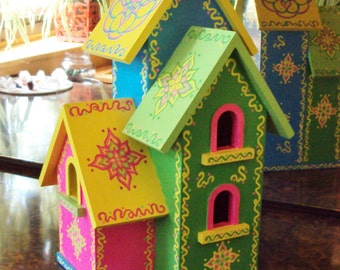 Triplex Birdhouse Handpainted/Bright Colors/Floral Designs/Doodles and Dots/Bright Green/Bright Blue/Yellow/Light Green/Decorative