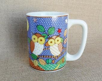 Otagiri Owl Mug Cup Patchwork Design 1980s Colorful Owl Couple Coffee Mug Tea Cup Gift for Owl Lovers Collectors