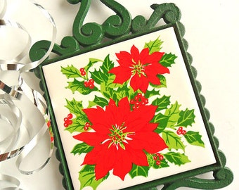 Christmas Trivet Cast Iron Tile Trivet Vintage Holiday Poinsettia Holly Sprigs Christmas Kitchen Decor