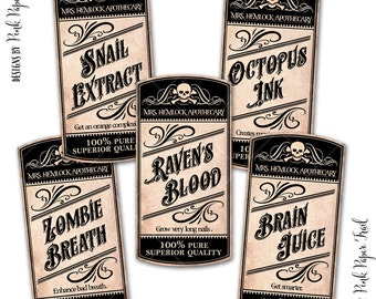 Apothecary Labels, Halloween Decor, Vintage Apothecary, Potion Labels, 1.5x3 inches size, Instant Download, Print Your Own