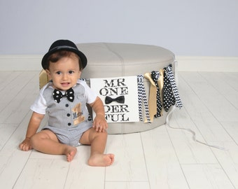 Gold and Black Little Man First Birthday Outfit with Matching Bow Tie