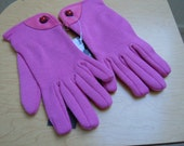 New Old Stock Vintage Italian Leather and Wool Blend Socking Pink Gloves, Fit all