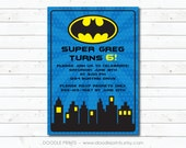 "Batman Invitation, Super Hero Birthday Party Invitation, Customized Printable Invitation Boy's Party ""Batman Gotham Design"" 4x6 or 5x7"