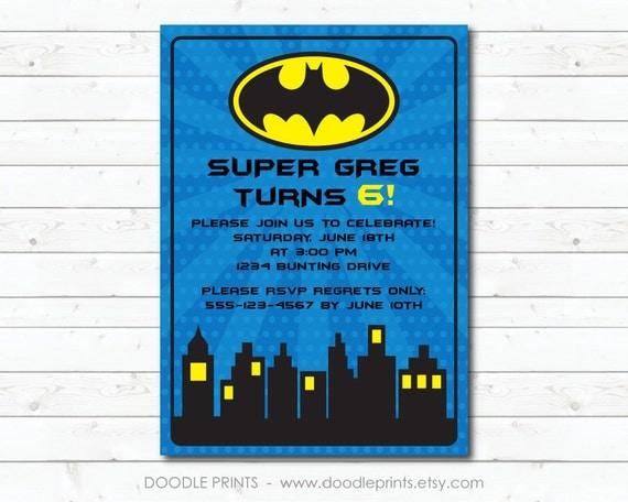 "Batman Invitation, Super Hero Birthday Party Invitation, Customized Printable Invitation Boy's Party ""Batman Gotham Design"" 4x6 or 5x7"
