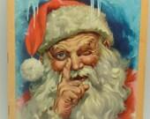 Antique Jolly Old Santa Claus Christmas book Elves Ideals 1958