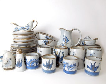 37-Piece Ken Edwards Keramos Pottery Set - Tonala / El Palomar Ceramic Crafts Mexico - Bird Blue Grey - Plate Cup Mug Bowl Pitcher