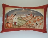 SALE, DISCONTINUED, Harvest Town Pillow Cover, Primitive, Fall, Thanksgiving, Pumpkins