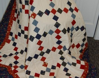 FREE SHIPPING, Irish Chain Patchwork Quilt, Woodland Summer, Hand Quilted Throw