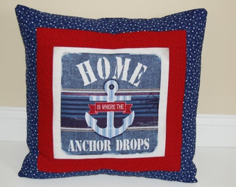 SALE, Anchors Away Pillow, Nautical, Beach Cottage Decor