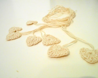 Crocheted Hearts, 7 Tiny Heart Shaped Embellishments, Appliques, Wedding Decor, Natural Cotton