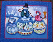 Christmas Wall Hanging, Snowman, snow people. Jim Shore artist, quilted