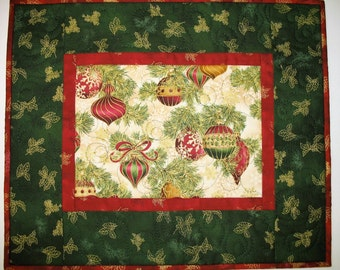Christmas Table Topper, Quilted  from Kaufman Flourish Line